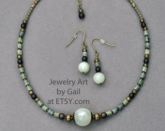 Green Stone Necklace and Earring Set
