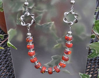 Fun Red - Orange and Silver Necklace and Earring Set