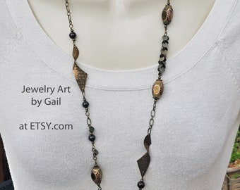Extra Long Antique Bronze and Garnet Necklace and Earring Set