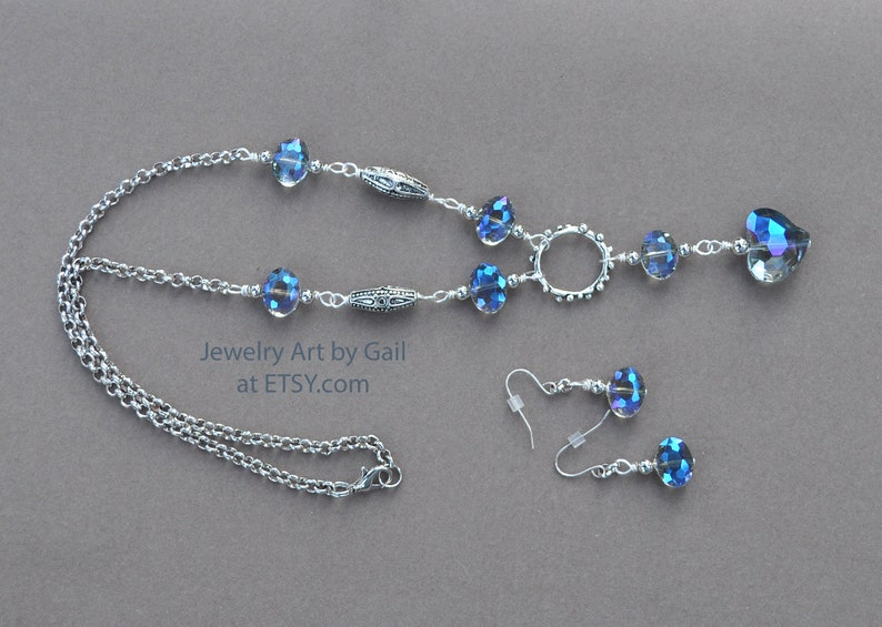 Crystal Heart Pendant Necklace and Earring Set