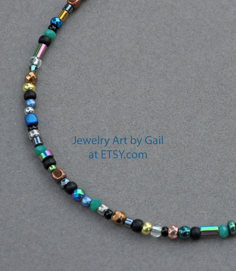 Multi Color Crystal Hematite and Seed Bead Anklet