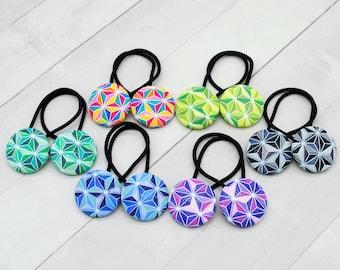 Stocking Stuffer for Girl, Hair Elastic Fabric Hair Tie, Rainbow Geometric Fabric Hair Button, Hair Accessories for Girls Ponytail Holder