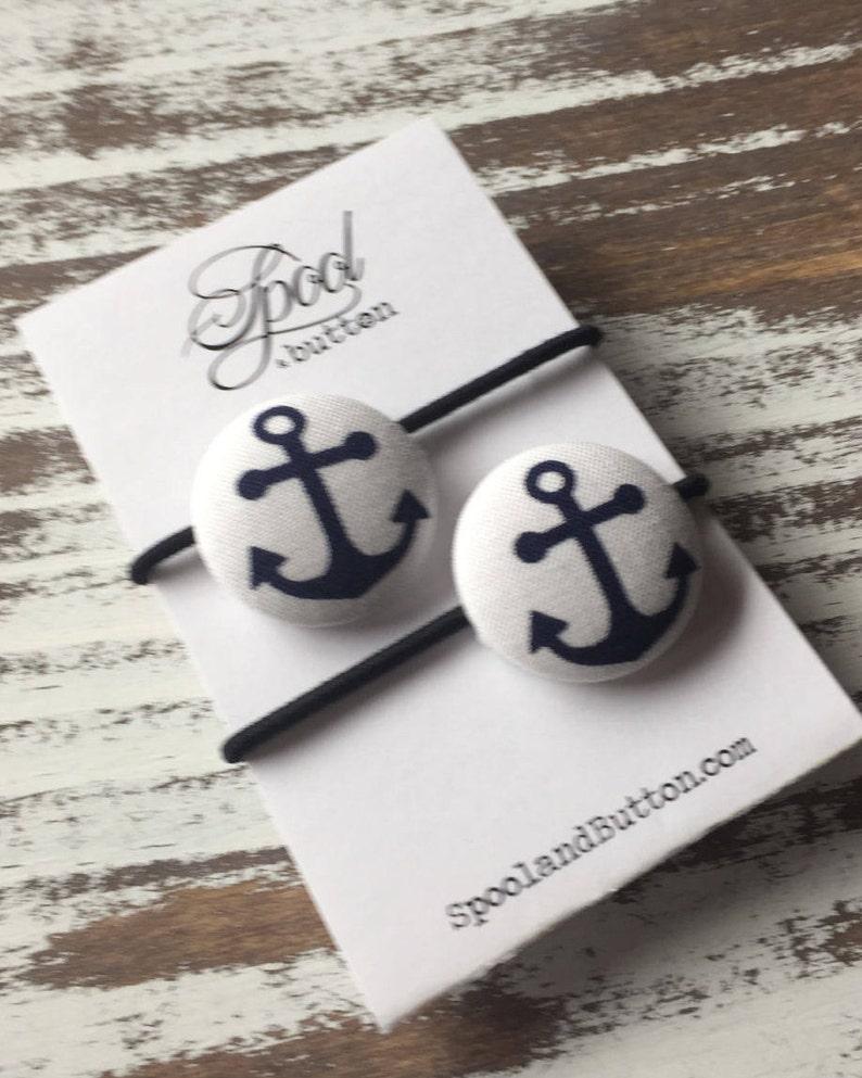 Hair Button Anchor Hair Elastic Nautical Ponytail Holder NAVY Wife, Anchor Clip Anchor Hair Tie