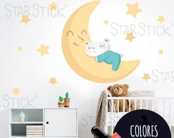 Baby wall decal Teddy bear on the moon - Yellow Nursery wall sticker