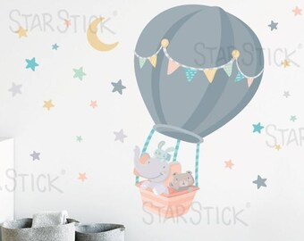 Animals flying in a hot air balloon. Moon yellow. Wall decal for baby