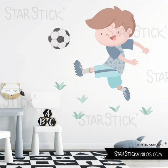 Child Soccer Player Blue Children Football Wall Decal Etsy