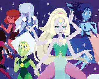 Steven Universe - Art Print - Long Banner Size - feat. Garnet, Pearl, Amethyst, Lapis Lazuli, Peridot, Ruby and Sapphire, Lion, Opal