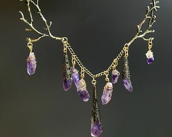 The ELVIRA Necklace - Branch Antler Amethyst Woodland Necklace - Game of Thrones, Wedding Bridesmaid Crystal Quartz Purple Prom Wedding