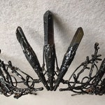The DARK VENUS Crown - Crystal Quartz Crown Black Tiara - Magical Headpiece. HALLOWEEN Alternative Bride, Festival, Game of Thrones!