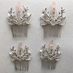 The INDIE Hair Comb Decorative Headpiece Woodland Witchy Quartz Crystal Raw Branch Leaf