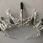 The DUSK INDIE - Black Titanium Quartz Leaf Tiara Diadem Crown - Prom Festival Goth Witchy Bride Handfasting