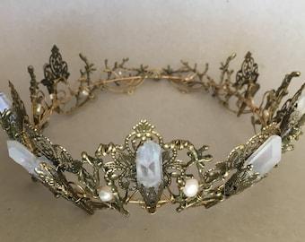 The EVANGELINE FULL Crown, Angel Aura Rainbow Quartz Crystal, Filigree, Tiara, Prom, Festival, Wedding, Bridal, Fairy, Branch, Leaf, Flower