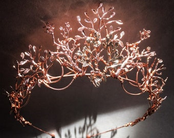 The VEDA Crown - Rose Gold Organic Flower Leaf Tiara, Delicate Dainty Floral Leaves Prom Festival Bride Bridesmaid Pink