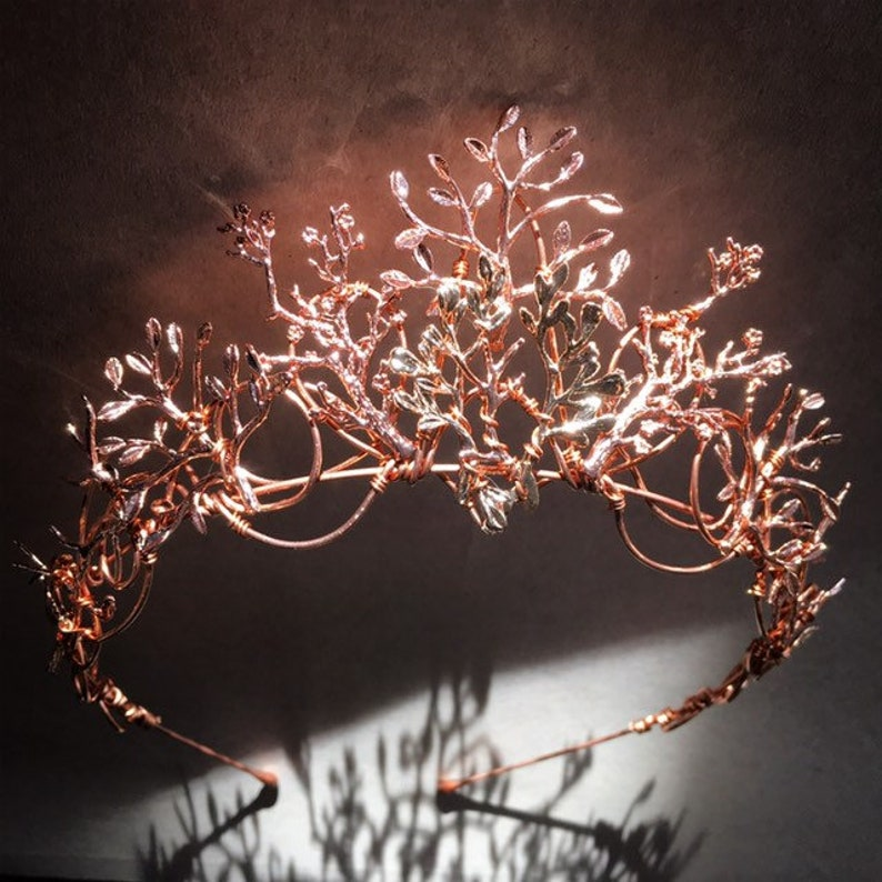 The VEDA Crown  Rose Gold Organic Flower Leaf Tiara Delicate image 0