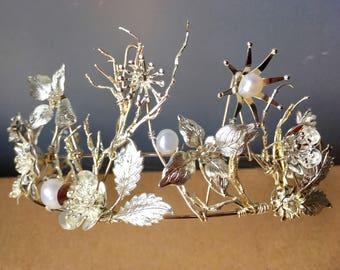 The OLWYN Branch Twig Pearl Flower Floral Leaf Crown Tiara. Winter, Ice Queen, Prom, Festive, Christmas, Snow, Frost, Bridal