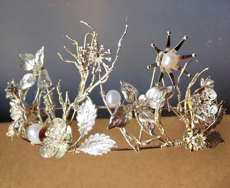 The OLWYN Branch Twig Pearl Flower Floral Leaf Crown Tiara. image 0