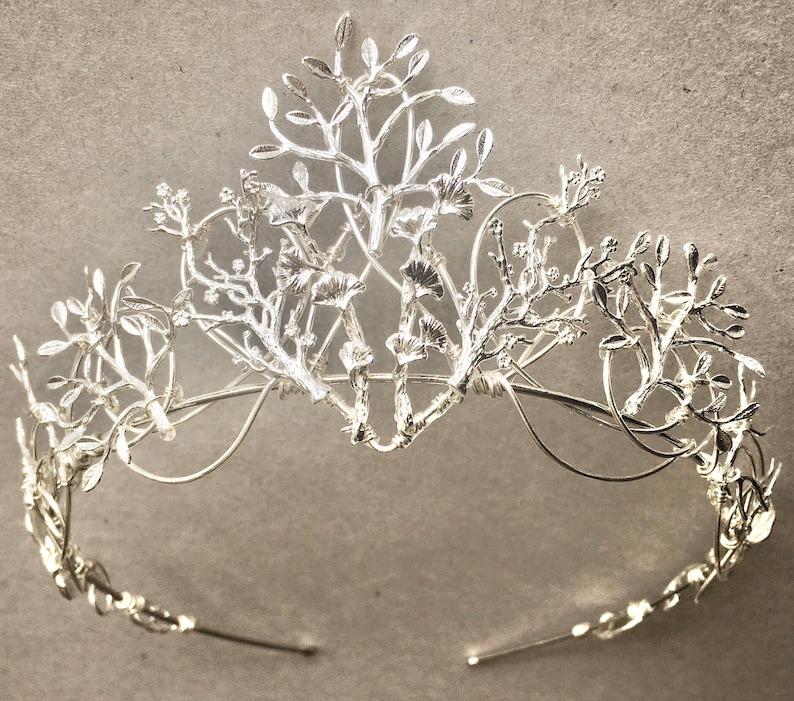 The VEDA Crown  Organic Flower Leaf Tiara Delicate Dainty image 0
