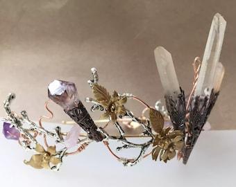 The DELPHINE Crown - Woodland Vintage Flower Tiara Headband. Floral, Elegant, Bohemian. Bride, Vintage Bridesmaid, Prom. Flower Crown.