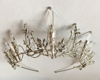 The INDIE PURE Crown - Crystal Rock Quartz and Leaf Crystal Crown Tiara - Bridal, Ritual, Headdress, Festival, Halloween, Prom