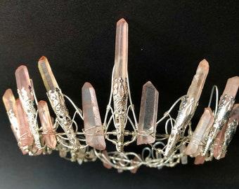 The FULL ROSE CELESTE Crown - Crystal Quartz Crown Tiara - Pink Hematite Headpiece. Alternative Bride, Festival, Flower, game of thrones.