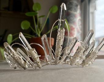The  VICTORIA TIARA - Crystal Quartz Vintage Crown Headband Prom Bridal Edwardian Filigree