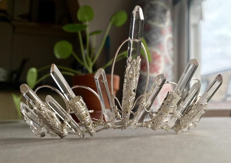 The  VICTORIA TIARA  Crystal Quartz Vintage Crown Headband image 0