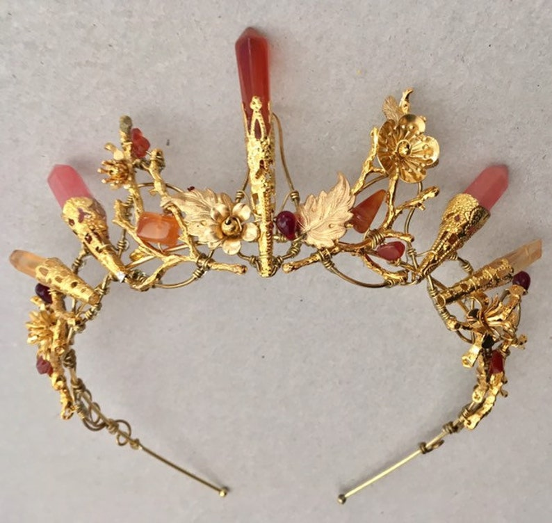 The AUBREY fire stone and flowers Crystal crown tiara. Blood image 0