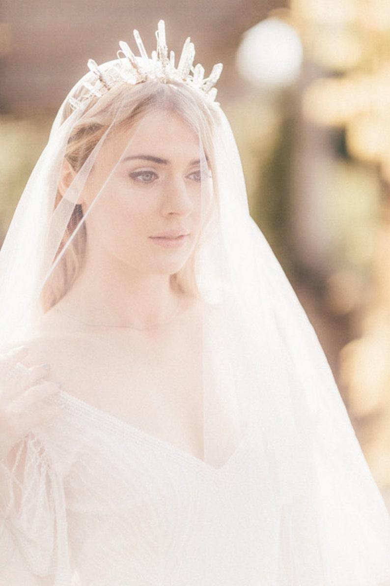 The CELESTE Crown  Crystal Quartz Crown Tiara  Magical image 0