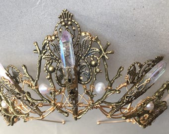 The EVANGELINE Crown, Angel Aura Rainbow Quartz Crystal, Filigree, Tiara, Prom, Festival, Wedding, Bridal, Fairy, Branch, Leaf, Flower