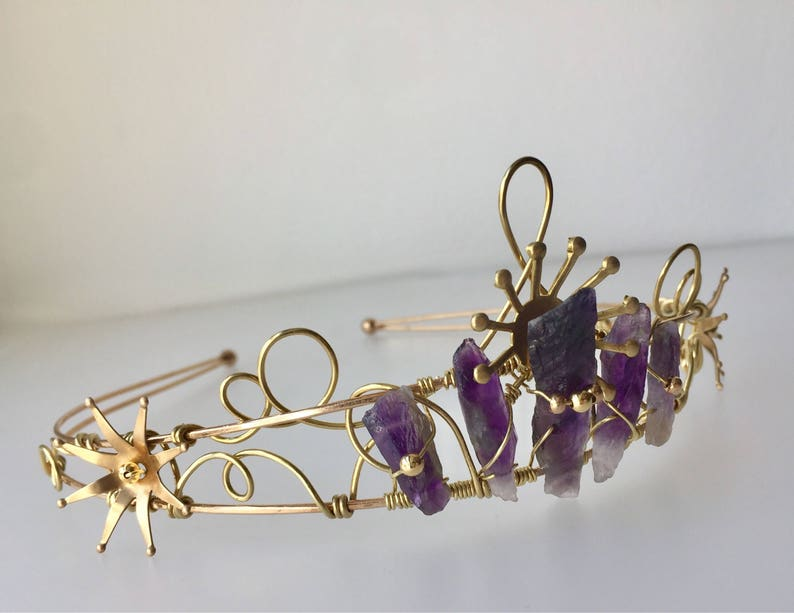 The ARTEMIS Star Amethyst Quartz Crown Tiara  Prom Festival image 0