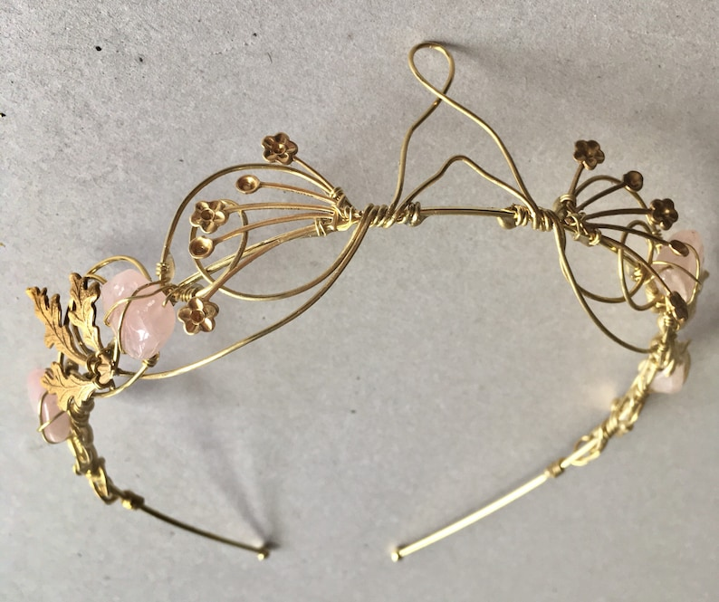 The ANAIS Crown  Dainty Elvin Rose Quartz Crystal and Brass image 0