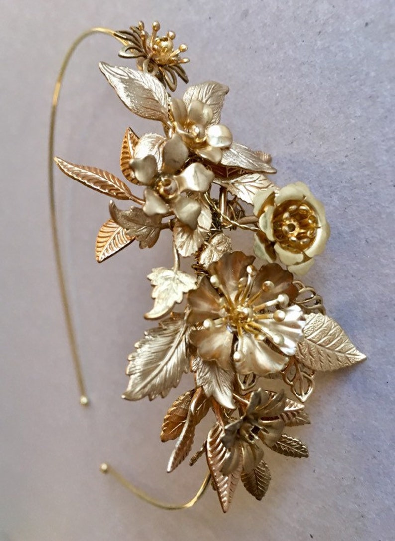 The ELOISE Flower Corsage Headband  Brass Vintage Floral image 0
