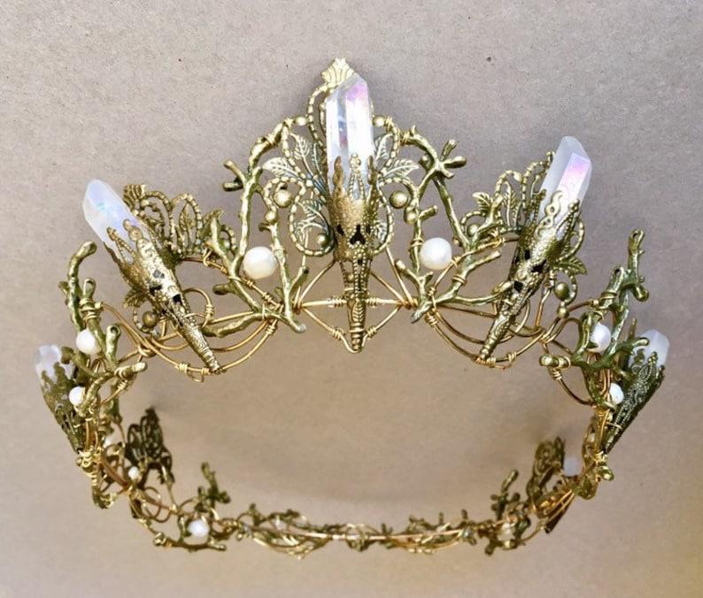 The EVANGELINE FULL Crown Angel Aura Rainbow Quartz Crystal image 0
