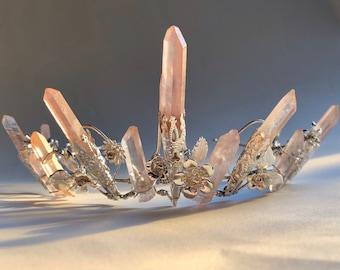 The FLORAL ROSE CELESTE Crown - Crystal Quartz Crown Tiara - Pink Hematite Headpiece. Alternative Bride, Festival, Flower, game of thrones.