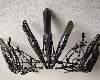 The DARK VENUS Crown - Crystal Quartz Crown Black Tiara - Magical Headpiece. HALLOWEEN Alternative Bride, Festival, Game of Thrones!
