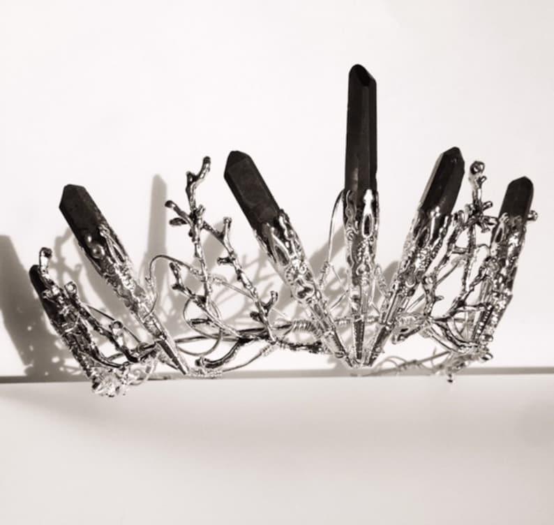 The DUSK VENUS Crown  Black Crystal Crown Tiara  Magical image 0