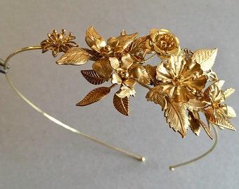 The ELOISE Flower Corsage Headband - Brass Vintage Floral Tiara Bridal Organic Boho Hair Wedding