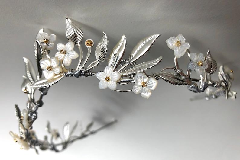 The OSTARA Elven Leaf Tiara Crown  Shell Flowers Leaves image 0