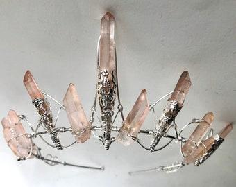 The ROSE CELESTE Crown - Crystal Quartz Crown Tiara - Pink Hematite Headpiece. Alternative Bride, Festival, Game of Thrones!