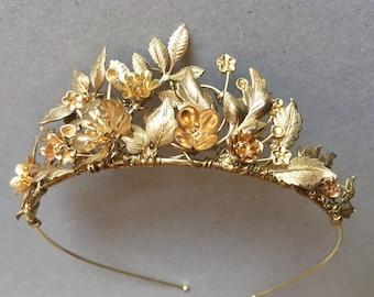 The SOFIA Leaf Flower Crown Tiara Diadem - Gold Vintage Edwardian Bride Bridesmaid Festival Prom