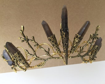 The THEODORA Crown - Smoky Quartz Raw Crystal and Aged Copper Branch Twig - Ethereal Natural Crown.