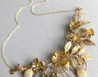 The FLORA Necklace! Floral, organic, leaf, flower, vintage, natural necklace.