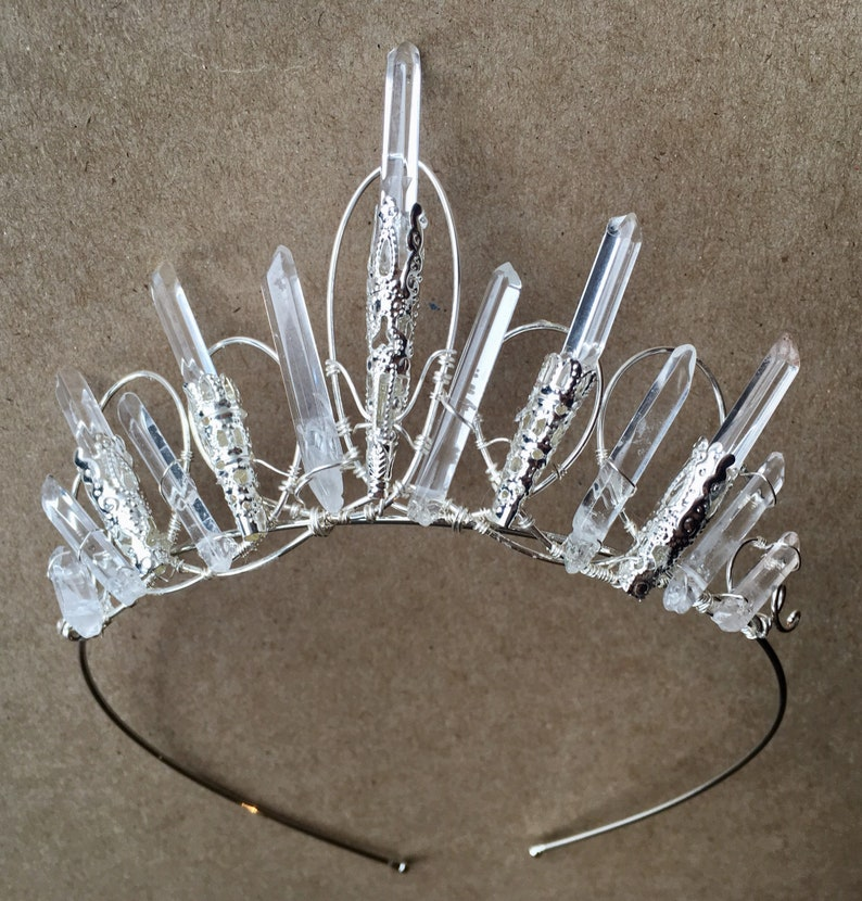 The  VICTORIA TIARA  Crystal Quartz Vintage Crown Headband image 0