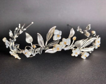 The OSTARA Elven Leaf Tiara Crown - Shell Flowers, Leaves, Organic, Timeless, Vintage, Bridal