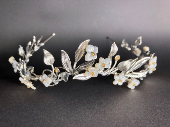 Rose Gold Organic Flower Leaf Tiara The VEDA Crown Delicate Dainty Floral Leaves Prom Festival Bride Bridesmaid Pink