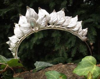 The CERES Leaf Labradorite Headband Crown Tiara - Prom Bridal Festival Party Bride Bridesmaid Cosplay