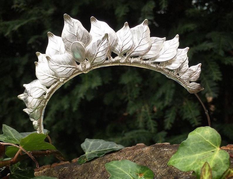 The CERES Leaf Labradorite Headband Crown Tiara  Prom Bridal image 0