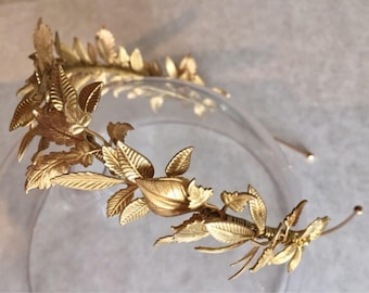 The MAISIE Head Band Organic Crown - Leaf Leaves Tiara Headband, Gold, Grecian, Elegant, Bohemian. Bride, Bridesmaid, Prom. Flower Crown.