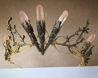 The VERENA Crown - Pink Hematite Quartz - Crystal Raw Stone Branch Crown - Alternative Bride, Festival, Prom