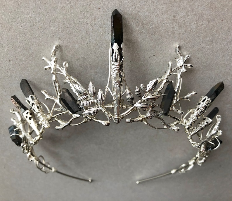 The DUSK INDIE  Black Titanium Quartz Leaf Tiara Diadem Crown image 0